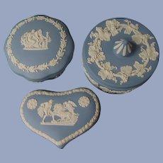 3 Blue Wedgwood Powder Trinket Jars Boxes England