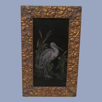 Lovely Framed Hand Painted Stork & Rushes on Tin