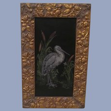 Lovely Framed Hand Painted Stork & Rushes on Tin