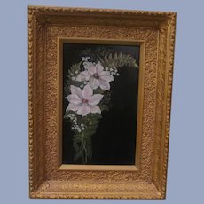Intricate Framed Floral Painting on Tin
