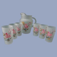 Hocking Frosted Pitcher, 6 Tumblers, Pink Rose Buds