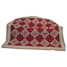 Red Snowflake and Diamond Hand Sewn Stitched Cotton Quilt 72 X 96