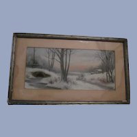 Early Chalk Winter Country Landscape Scene, Signed Framed Matted