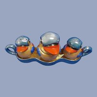 Lustreware Novelty Bird Condiment Set with Tray/Spoon