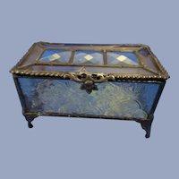Lovely Pattern Glass Metal Frame Glass Casket, Trinket Box
