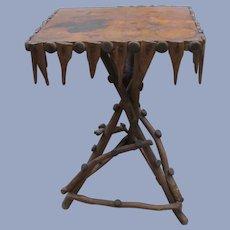 Charming Folk Art Stick Wood Table