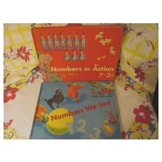 1961 2 Childrens Number Books,Teachers Edition..Numbers We See, Numbers In Action