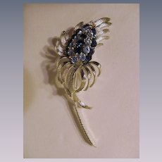 "Pretty Coro 3 3/4"" Flower Brooch, Blue Rhinestones"