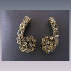 Amazing Large Crystal Rhinestone Clip Earrings