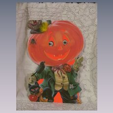 """Halloween 13"""" Googly Moving Eyes Pumpkin, 2 Sided Stand Up Norcross Card"""