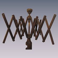 Antique Wood Umbrella Yarn Winder with Table Clamp
