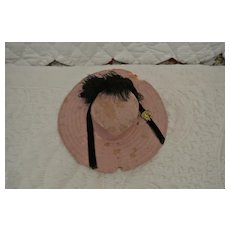 "Antique Felt Doll Hat 6 1/2"" with Gold Pin"