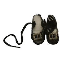 Antique German size 3 leather, black doll shoes
