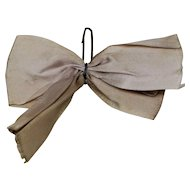 Vintage Original Ginny Wide Beige Hair Bow with Barrette