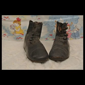 "5"" Vintage Black Leather Boots-Free Ship"