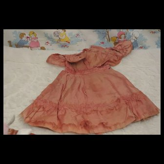 "Pretty Vintage Pink Dress 9 1/2"" long by 4""-Ship Included"