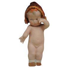 """Antique Heubach 6"""" Pensive Toddler Girl with Original Bonnet"""