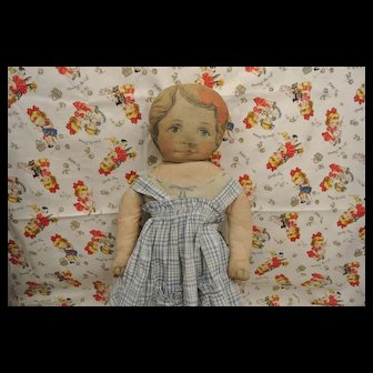 American Rag Doll Antique Printed Cloth Doll Lithographed Face