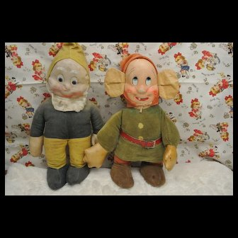 "1938 Ideal 13"" Oil Cloth Dopey& Bashful-Walt Disney Snow White Seven Dwarfs"