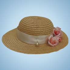 "Vintage Pretty 7"" Straw Doll Hat"