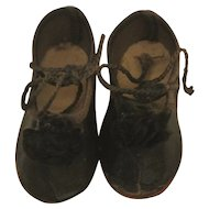 "Antique German 2"" Black Shoes"
