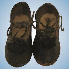 """Antique German 2"""" Black Shoes"""
