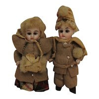 Antique Miniature All Bisque Darling Matching Pair