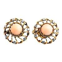 Retro French Angel Skin Coral Diamond 18 Karat Gold Earrings
