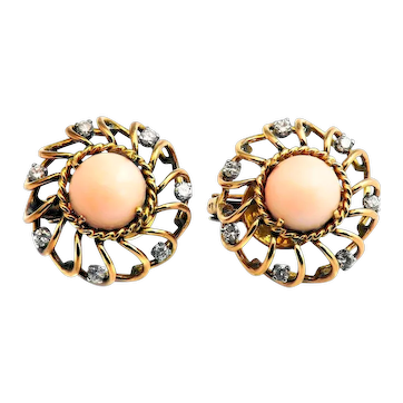 Retro French Angle Skin Coral Diamond 18 Karat Gold Earrings