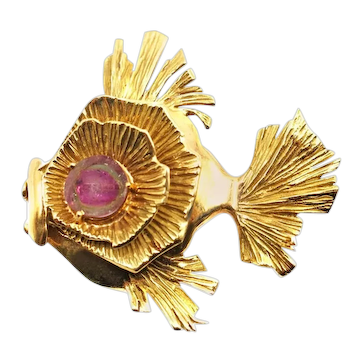 Gubelin 18 Karat Yellow Gold and Watermelon Tourmaline Exotic Fish Brooch