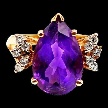 Pear Shaped Amethyst Diamond 14K Yellow Gold 1960s Ring