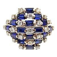 Retro Sapphire Diamond Palladium Dome Ring