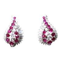 Products Gübelin Burmese Ruby Round Baguette Diamond Platinum Earrings