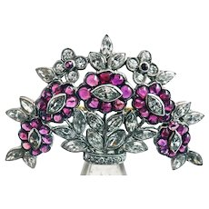 Art Deco Rock Crystal Ruby Diamond Platinum Brooch