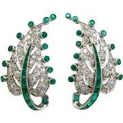 Art Deco platinum diamond emerald leaf ear clips
