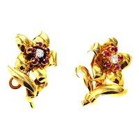 Retro Diamond Ruby 18 Karat Gold Flower Ear Clips