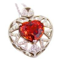 10 Carat Spessartine Garnet Diamond Pendant Necklace