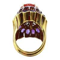 Coral Amethyst Diamond 18 Karat Gold 1980s Cocktail Ring