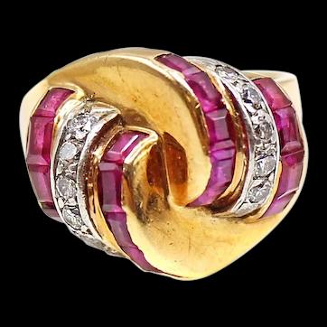 Retro Ruby Diamond 14k Gold Platinum Ring