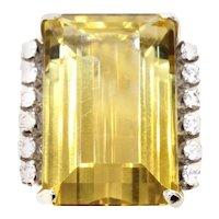 Oversized Golden Citrine Diamond Gold Ring