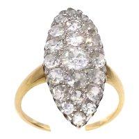 Belle Epoque French Old European Cut Diamond Platinum 18 Karat Gold Ring