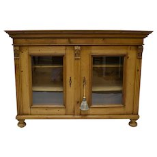 Low Pine Glazed Bookcase or Display