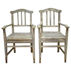 Pair of Pine Slatback Plank Seat Country Armchairs