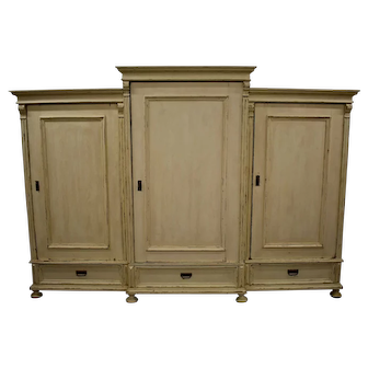 Massive Painted Pine and Oak Three Section Armoire