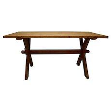 "Pine and Oak ""X"" Base Trestle Table"