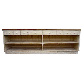 Vintage Painted Pine and Oak Store Counter