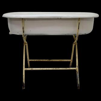 Vintage Porcelain Enamel Baby Bath