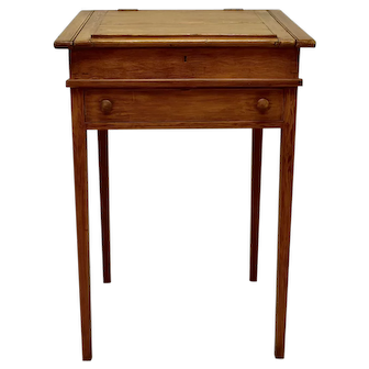 English Pine Grain-Painted Writing Slope on Stand