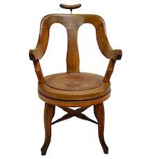 Vintage Oak Swivel Seat Barber's Chair