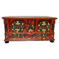 Antique Hungarian Pine Trunk or Blanket Chest in Original Paint